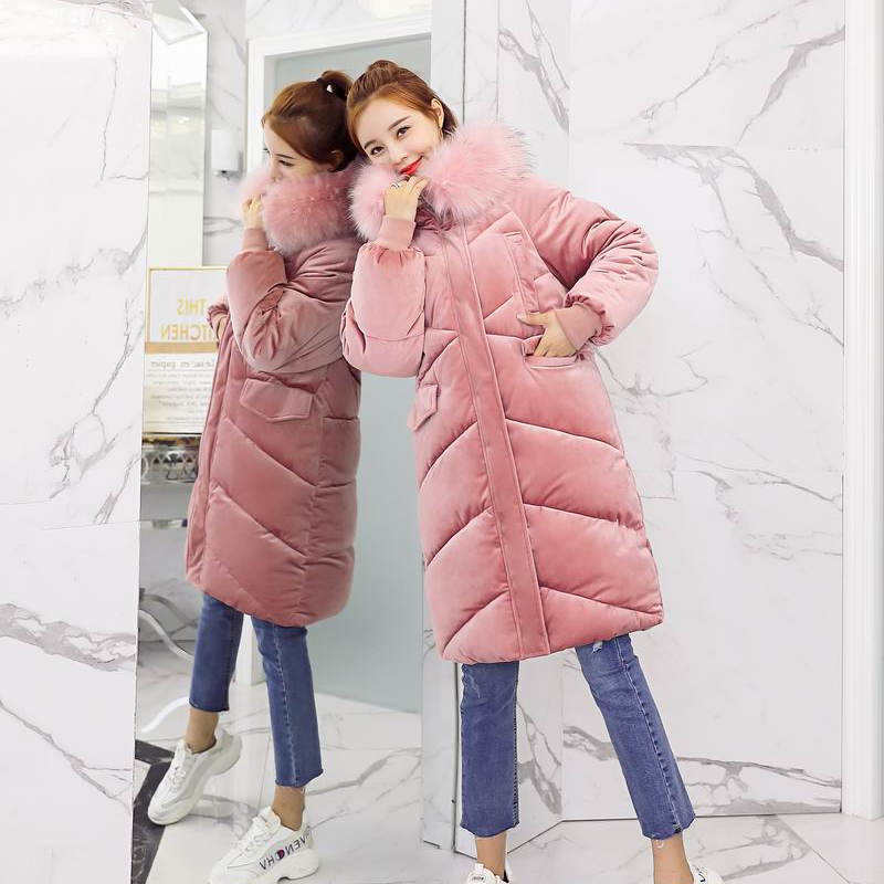 Pink Big Fur Hooded Thick Down Cotton Velvet Parkas Long Female Jacket Coat Slim Warm Winter Outwear Zipper Parkas Mujer 2018