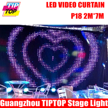 P18 2M*7M Fire Proof LED Video Curtain With Off Line Controller For DJ Wedding Backdrops 90V-240V Tricolor Light Curtain