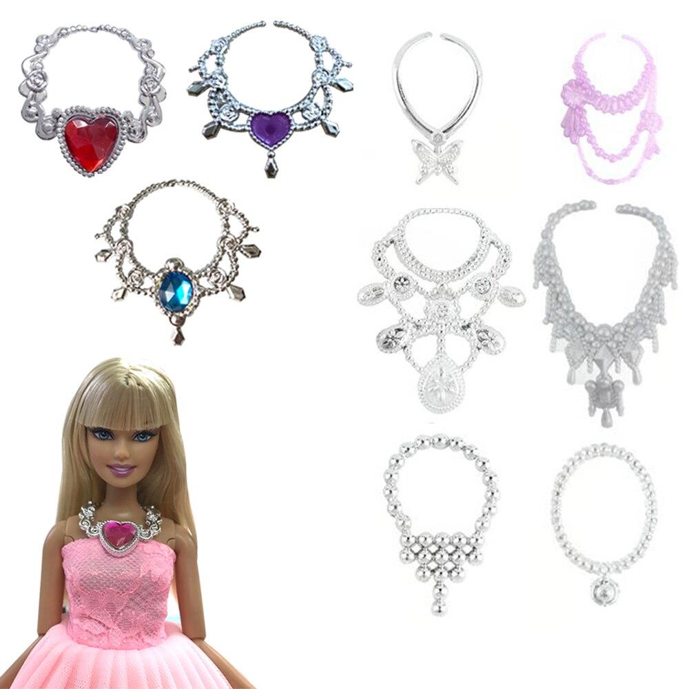 NK 9 Pcs/Set Random 6 Pieces Plastic Chain Necklace+Random 3 Crystal Plastic Chain For Barbie Doll Accessories Toy Jewelry DZ