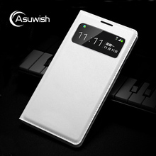 Asuwish Smart View Leather Case Flip Cover For Samsung Galaxy S4 I9500 I9505 Sleep Slim Original Phone Case For Samsung S4 S 4