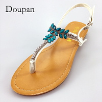 Doupan 2018 New Sandals Crystal Chain Flats Stylish Decoration Bohemian Style Shoes Women Flip Flops Sandalias