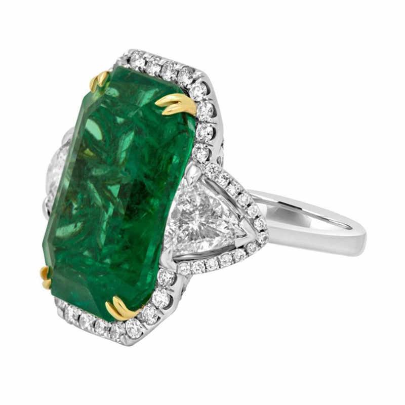 Роскошные Винтажные Ювелирные изделия большие свадебные кольца для женщин квадратная мозаика зеленый кристалл новые модные аксессуары 5-12 размер Прямая доставка