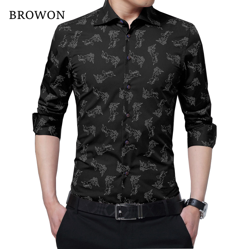 BROWON New Arrival Men Shirt Business Casual Office Shirt Men Plus Size Long Sleeve Blouse For Man Camisa Masculina