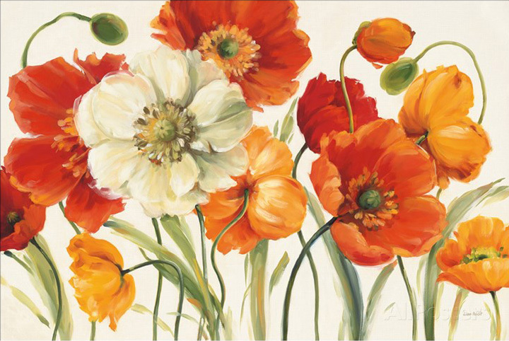 Hand Painted Poppies On Canvas