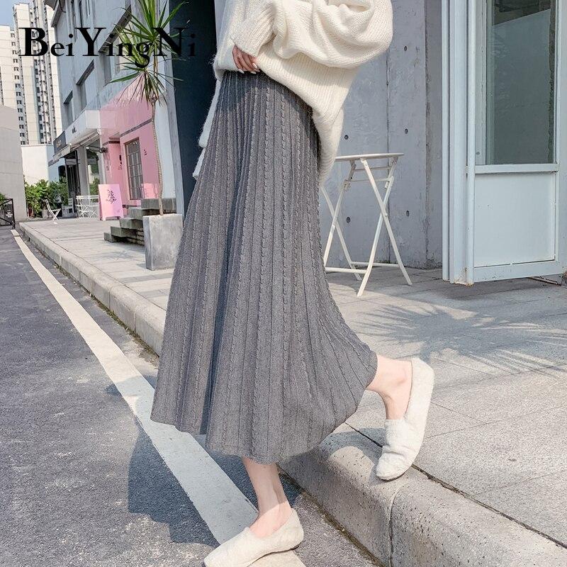 Beiyingni Winter Korean Women Skirt Black High Waist A Line Pleated Skirts 2019 Slim Solid Knitting Vintage Midi Skirt Faldas
