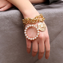 Luxury Multilayer Pearl Coin Pendant Chain Bracelet Bangle Jewelry Punk for Women stylish multilayer faux pearl round lace bracelet for women