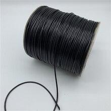 0,5 мм, 0,8 мм, 1 мм, 1,5 мм, 2 мм, черный вощеный хлопковый шнур, вощеная нить, шнур, ремешок для ожерелья, веревка для изготовления ювелирных изделий