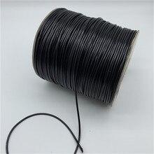 Cordão de algodão encerado, cordão de fio preto encerado para colar, 0.5mm 0.8mm 1mm 1.5mm 2mm corda para fazer jóias