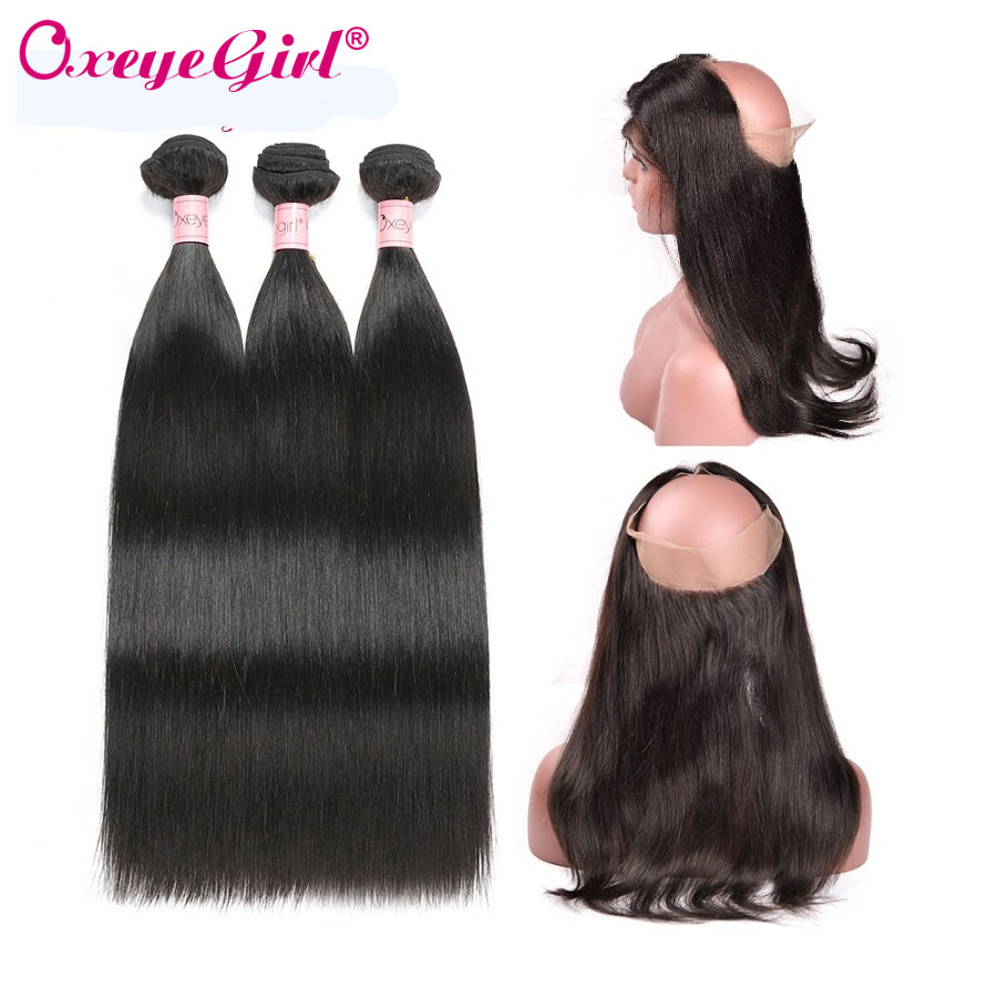 Oxeye girl 360 Lace Frontal With Bundle Brazilian Straight Hair Bundles Human Hair Bundles With Closure