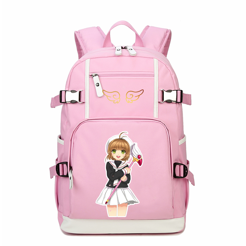 2018 Japanese Anime Card Captor Printing Backpack Mochila Feminina SAKURA Kawaii Women Should Bags Canvas School Bags Rucksack japanese comic card captor sakura wings schoold backpack magical card girl sakura cosplay backpack sakura wings bag