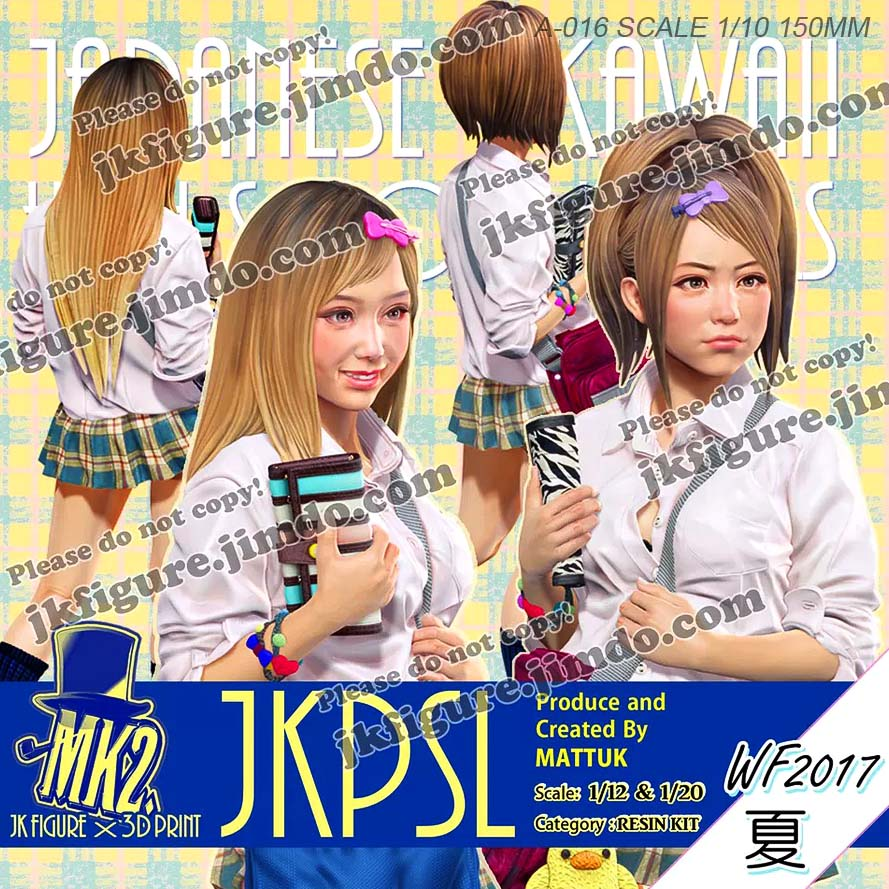 1/20 Resin Figures Japanese Girls Resin White Model  Double Head  Colorless Ande Self-assembled A-016 (jkpsl-20s)