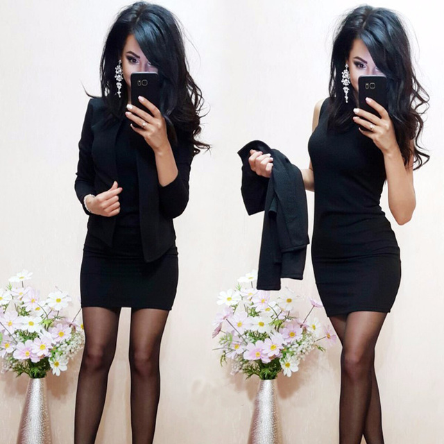 2017 New Arrival Fashion Autumn Suits Sexy Sheath O-Neck Above Knee Mini Dress Full Sleeve Casual Coat Two Pieces Women Sets