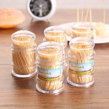 Simple Natural portable bottled canned bamboo toothpick box  with toothpicks 4.8*8cm free shipping