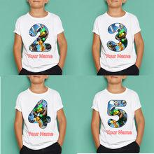 Ninjago blusa infantil de manga curta, camiseta estampada para crianças feliz aniversário presente de aniversário