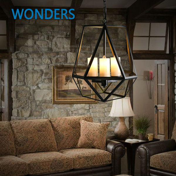 Black Wrought Iron Loft Lamp Industrial Pendant with candle holder Rustic Vintage Light Fixtures for Room restaurant decoration free shipping candle lamp wrought iron restaurant bedroom chandeliers rural white candle wrought iron pendant led lights