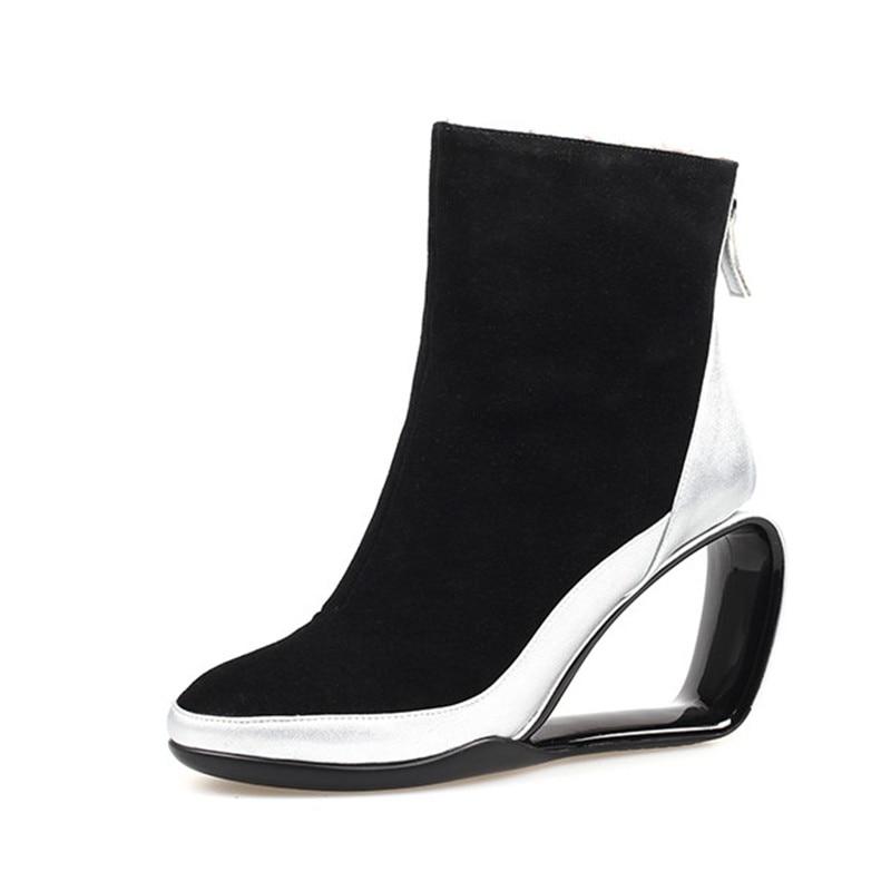 noir Dames Bottines Botines Courtes Conception Véritable Femmes Wedge Hiver Chelsea Neige Noir En Silver Bottes 2018 Cuir Chaud Mujer x1qUHOC