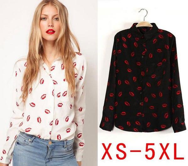 Moda 2016 Plus Size Blusas Femininas Casual camisa mulheres Blusas red lips Blusas Blusa XS sml XL XXL XXXL 4XL 5XL