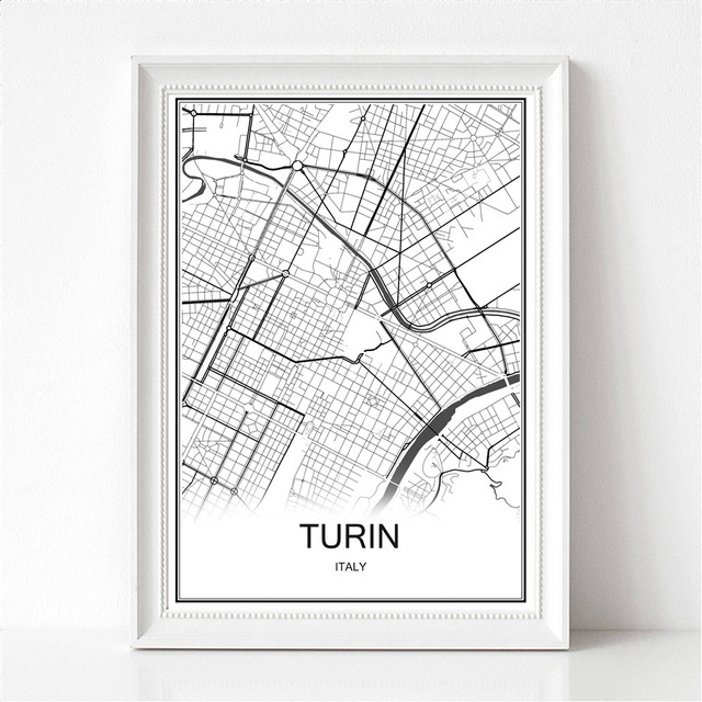 Turin Italy World City Map Print Poster Abstract Coated Paper Bar