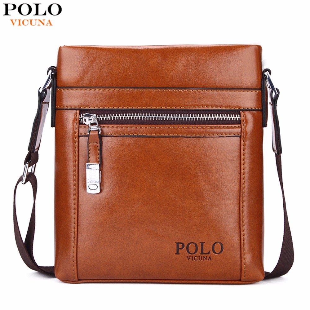 VICUNA POLO High Quality Theftproof Waxy Leather Brand Man Bag With Metal Hasp Small Men's Crossbody Bag Vintage Shoulder Bags vicuna polo high quality waxy pu leather mens messenger bags famous brand casual business man bag men shoulder bag crossbody bag