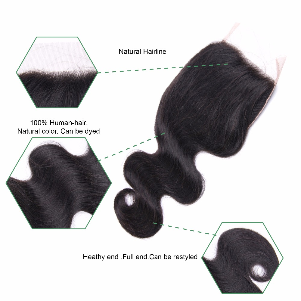 JSDShine 4*4 Lace Closure Brazilian Body Wave Human Hair 100% Remy Free Part 130% Density Natural Color 8-20 inch