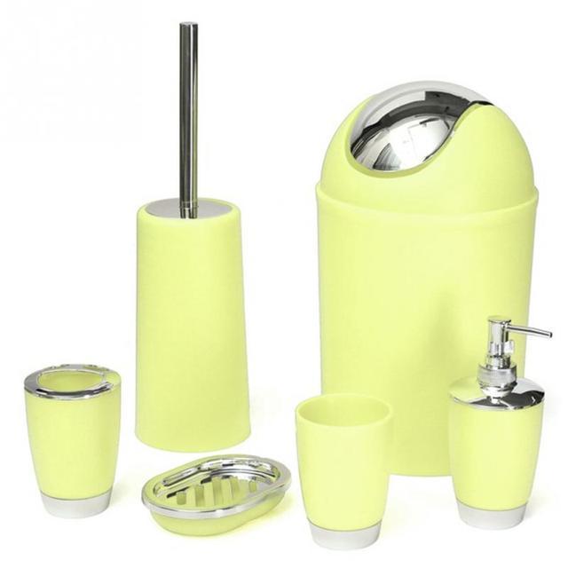 6Pcs/Set Solid PP Bathroom Necessities: Toothbrush Holder, Toilet Brush  ,Soap Dish