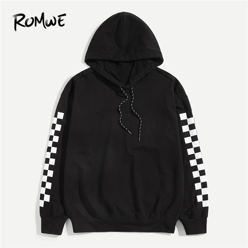 romwe men black gingham print sleeve drawstring hoodie