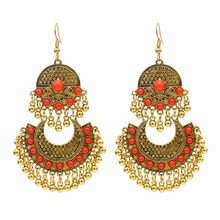 Ethnic Turkish Indian Style Gold Silver Jhumka Resin Beaded Statement Long Earrings for Women Boho Party Gypsy Thailand Jewelry(China)