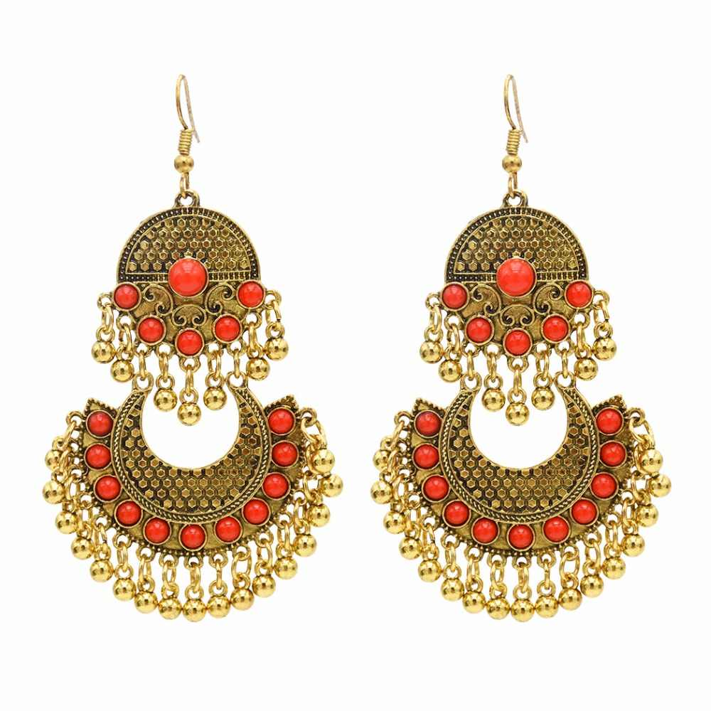 7bfe8b19a Ethnic Turkish Indian Style Gold Silver Jhumka Resin Beaded Statement Long  Earrings for Women Boho Party