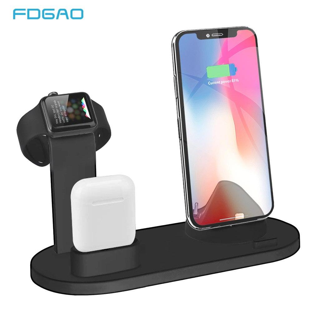 FDGAO 3 en 1 soporte de carga para iPhone 11 Pro X XR XS MAX 8 7 Plus cargador de muelle de la estación Base para Apple Watch 2/3/4/5/AirPods pro