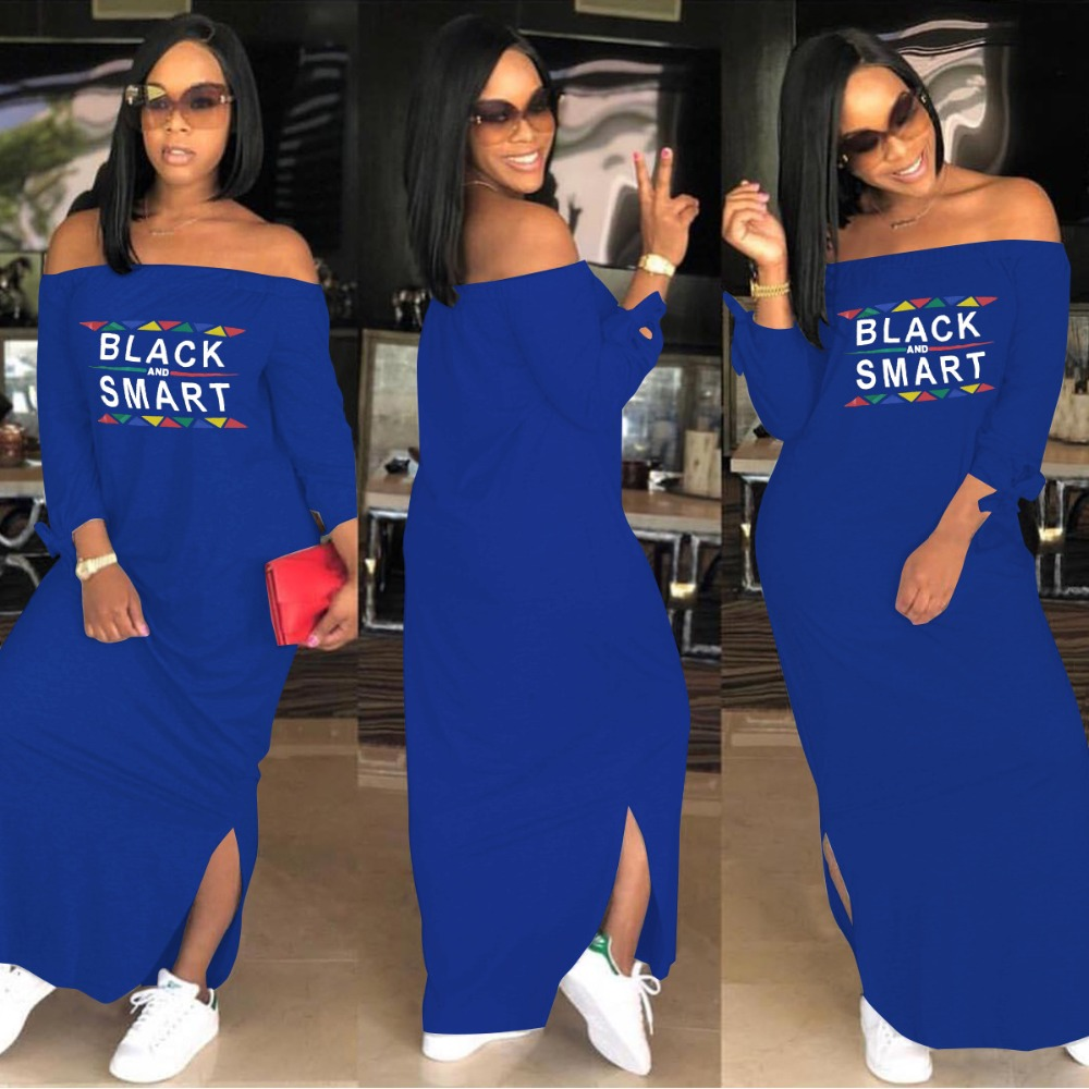 774cf0d0adb Letter Printed Casual T Shirt Dress Autumn Slash Neck Full Sleeve Lace Up  Sexy Maxi Dress Lady Plus Size Side Split Dress ASL039-in Dresses from  Women s ...