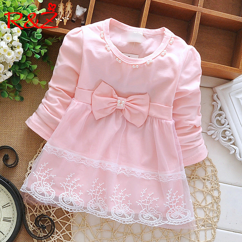 R&Z Children Dress 2019 Spring And Fall New Girls Dress Cotton Knit Pearl Mesh Lace Princess Dress