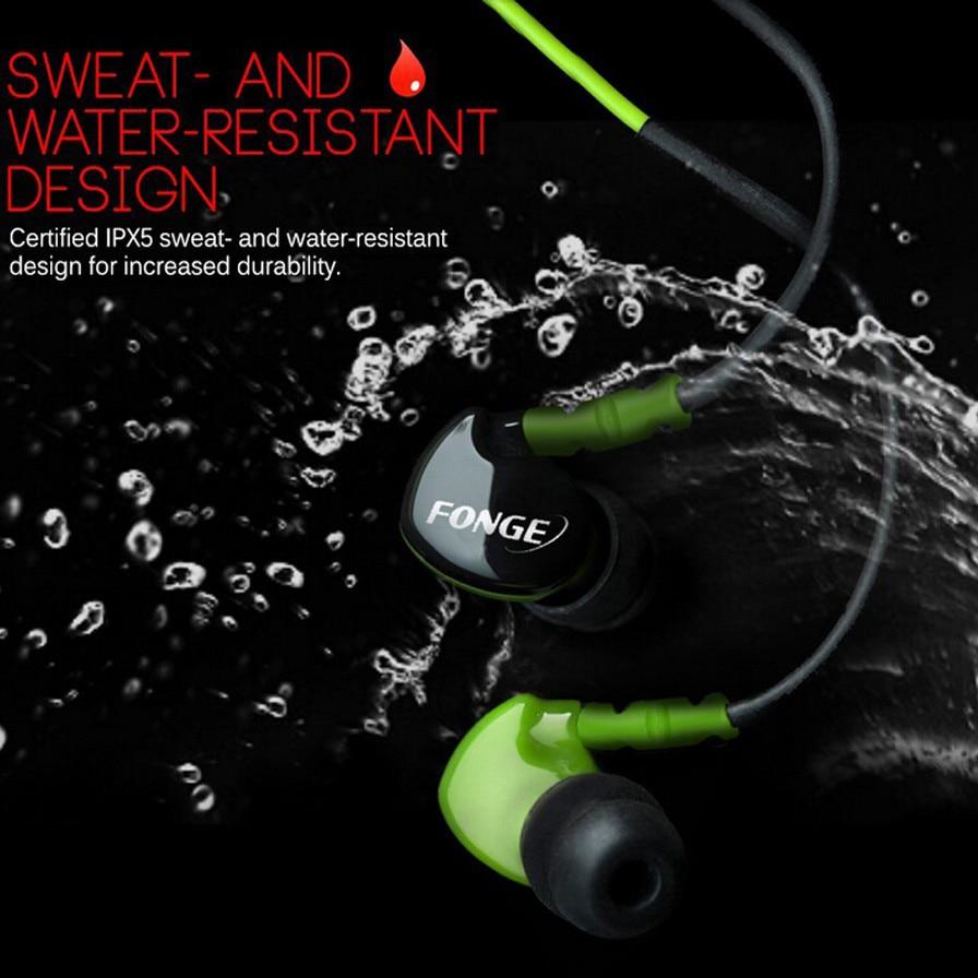Fonge Waterproof Earphones In Ear Earbuds HIFI Sport Headphones Bass Headset with Mic for xiaomi Galaxy s6 smart phones 2