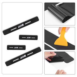 Image 5 - For Peugeot 208 4D Carbon Fiber Vinyl Sticker Door Threshold Plate Stickers Car Door Sill Protector Scuff Plate Car Accessories
