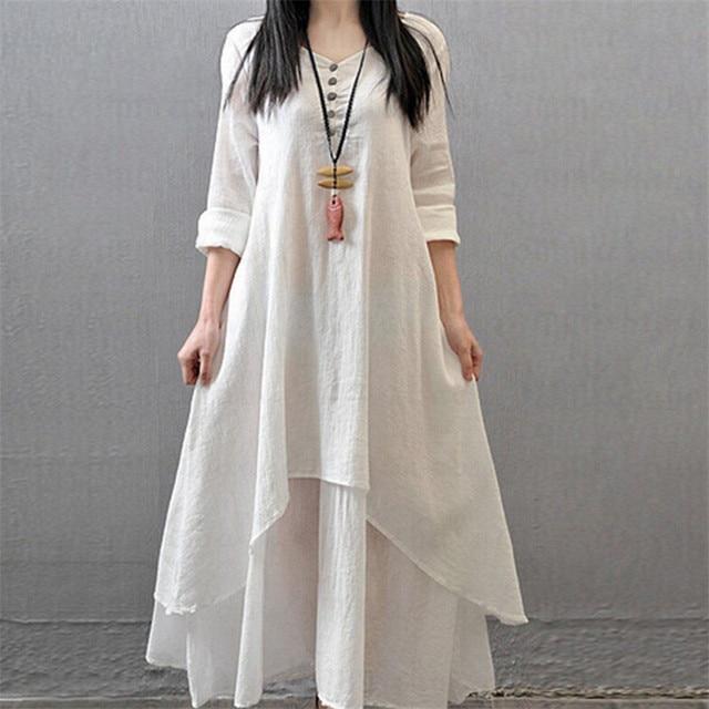 Plus Size Women Boho Long Sleeve Linen Dress Peasant Ethnic Loose