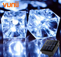 6.5M 30 LED Ice Cubes Solar Powered String Lights LED Fairy Light for Christmas Wedding Party Festival Outdoor Indoor Decoration