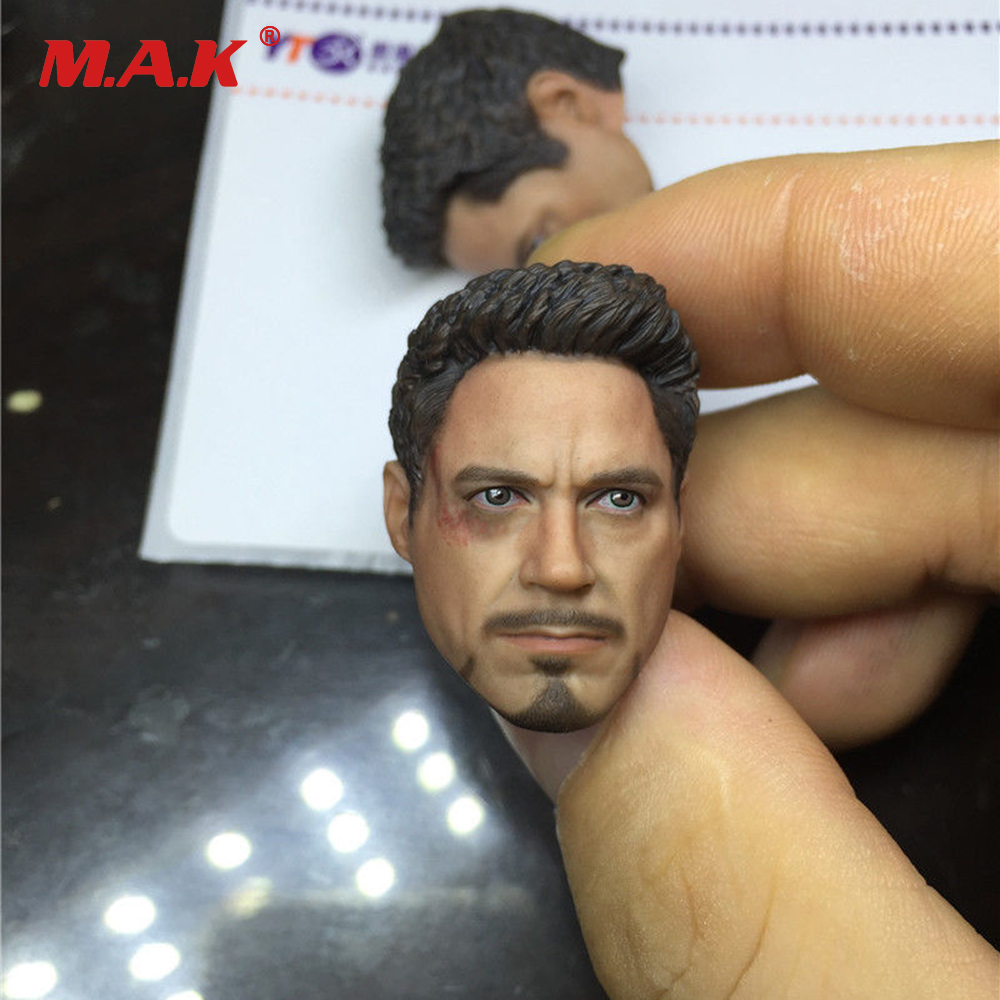 1/9 Scale Male Head Sculpt Damage Ver. Iron Man Tony Stark Head Model Sculpt for MK42 MK43 Man Body Action Figure iron man 3 tony stark mk4 mk42 mk6 light