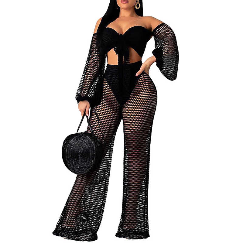 87c6c98f87 ... IASKY 2019 New hollow out cover ups sexy women off shoulder Top+beach  pants bikini ...