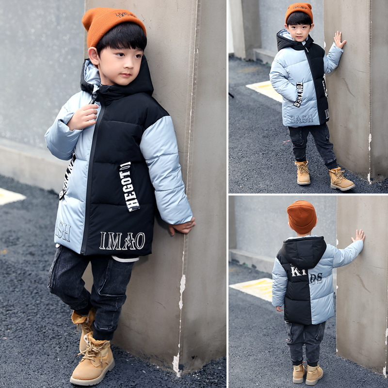 Boys Long Sleeve Hooded Mid-Long Casual Fashion Coats Patchwork Color Letters Thicken Cotton Winter Outdoor JacketsBoys Long Sleeve Hooded Mid-Long Casual Fashion Coats Patchwork Color Letters Thicken Cotton Winter Outdoor Jackets