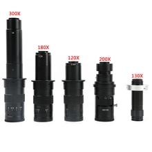 Регулируемый 180X 120X 300X 200X 130X зум c-крепление объектива 0.7X ~ 4.5X увеличение 25 мм для HDMI USB промышленности видео микроскоп камера