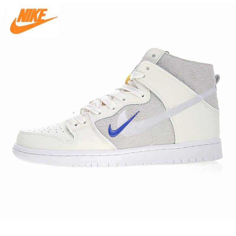 Nike SB Zoom Dunk High PRO QSmen и Для женщин Скейтбординг обувь, бежевый, легкий истиранию дышащая AH9613 141