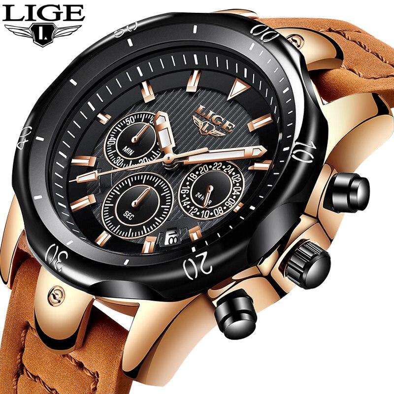 Relojes Hombre LIGE модные Для мужчин s часы, чтобы Элитный бренд 24 часов большой циферблат Кварцевые часы Для мужчин военные кожаные Водонепроницае
