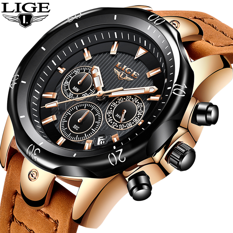 Relojes Hombre Lige Fashion Mens Watches To Luxury Brand 24 Hours Big Dial Quartz Watch Men Military Leather Waterproof Clock In Quartz Watches From