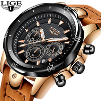 Relojes Hombre LIGE Fashion Mens Watches To Luxury Brand 24 Hours Big Dial Quartz Watch Men Military Leather Waterproof Clock