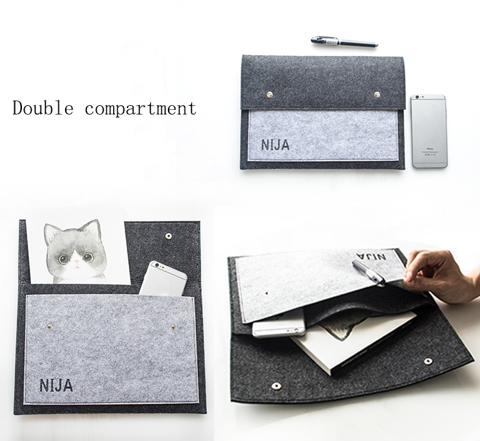 Office Business Soft Fiber A4 Document Envelope Bag, Double Compartment File Collecting Case