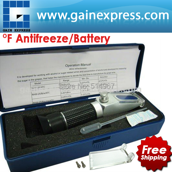 New Portable Battery Acid Antifreeze Fluid Glycol Refractometer degree F + Built-in ATC + Calibration Knob portable clinic clinical pet animal dog and cat refractometer rhc 300 atc blood protein serum urine plasma