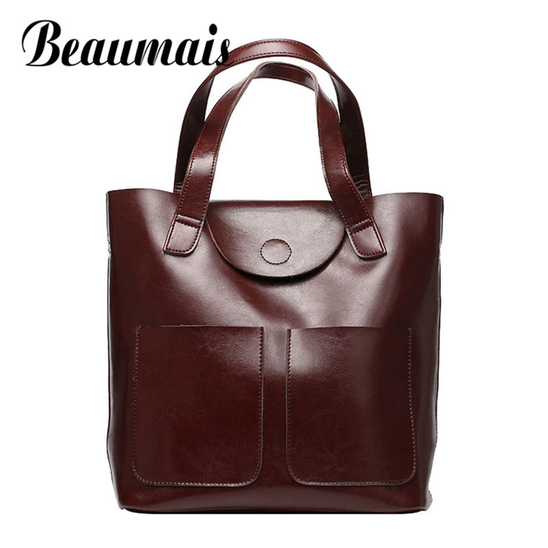 Beaumais Genuine Leather Bag For Women Leather Handbags Luxury Handbags Women Bags Designer Soft Shoulder Bag For Ladies DF0196 ladies genuine leather handbag 2018 luxury handbags women bags designer new leather handbags smile bag shoulder bag