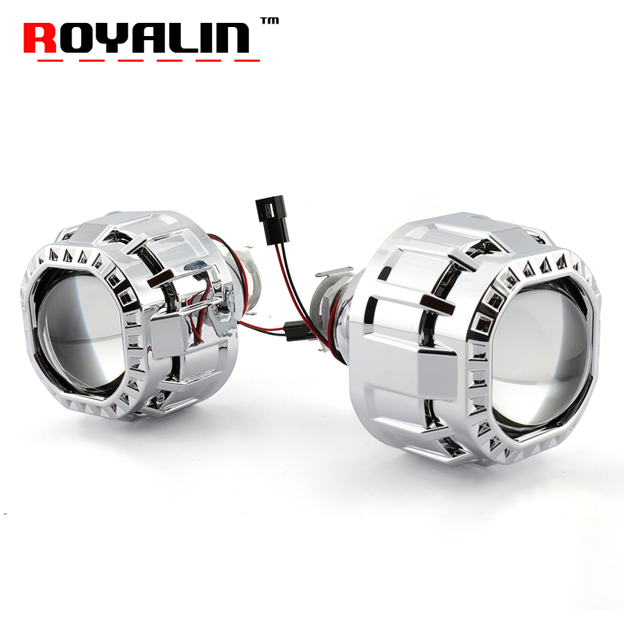 ROYALIN Square Car Mini Bi Halogen Xenon Headlight Lens For H1 H4 H7 Auto Motorcycle Lamp Retrofit Projector Gatling Gun Shrouds retrofit headlights cover 2 5for h1 mini projector lens silver gatling gun shroud [qp379]