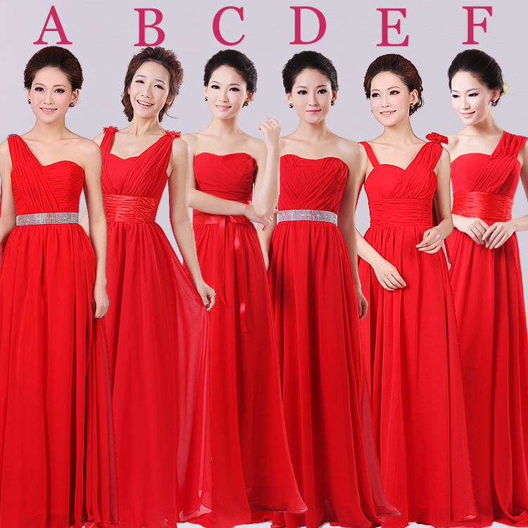 Red Color Strapless Long Floor Length A Line Chiffon Bridesmaid Dresses With 6 Styles In From Weddings Events On Aliexpress