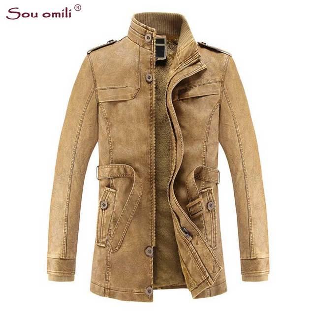 Velvet Leather Jackets Men Coats Winter Warm Motorcycle Leather ...