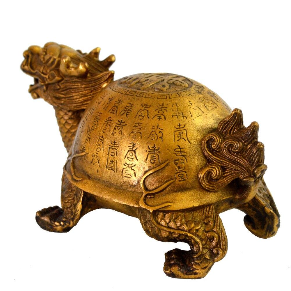Feng Shui laiton longévité Dragon tortue Statue Figurine W gratuit Mxsabrina rouge chaîne Bracelet M4015 - 6